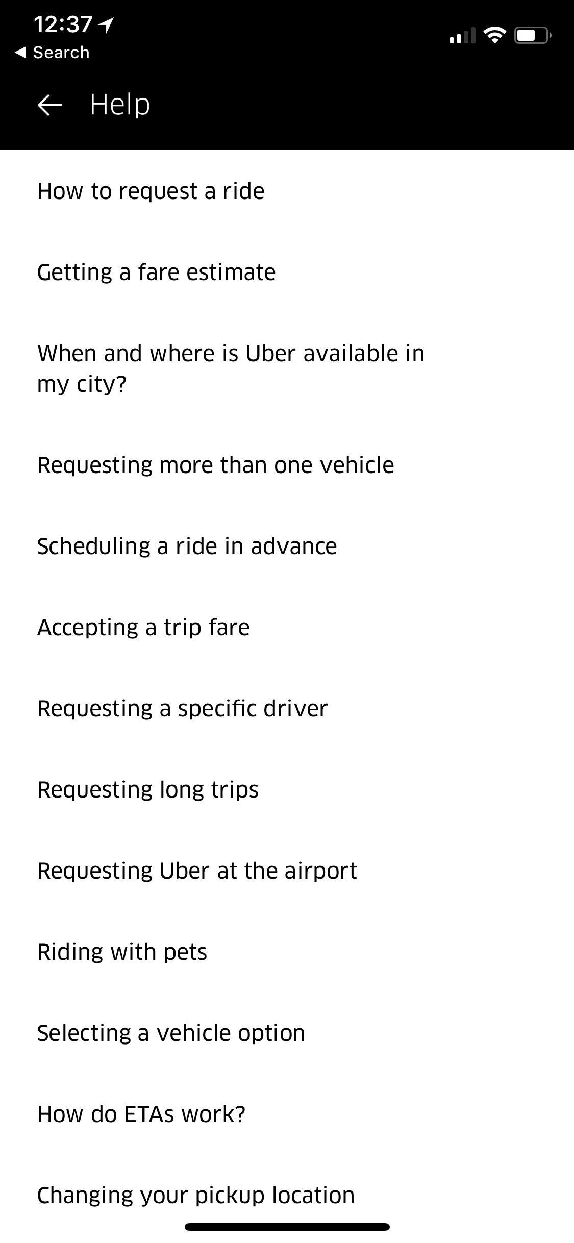 Uber  iOS 刘海屏内容页列表