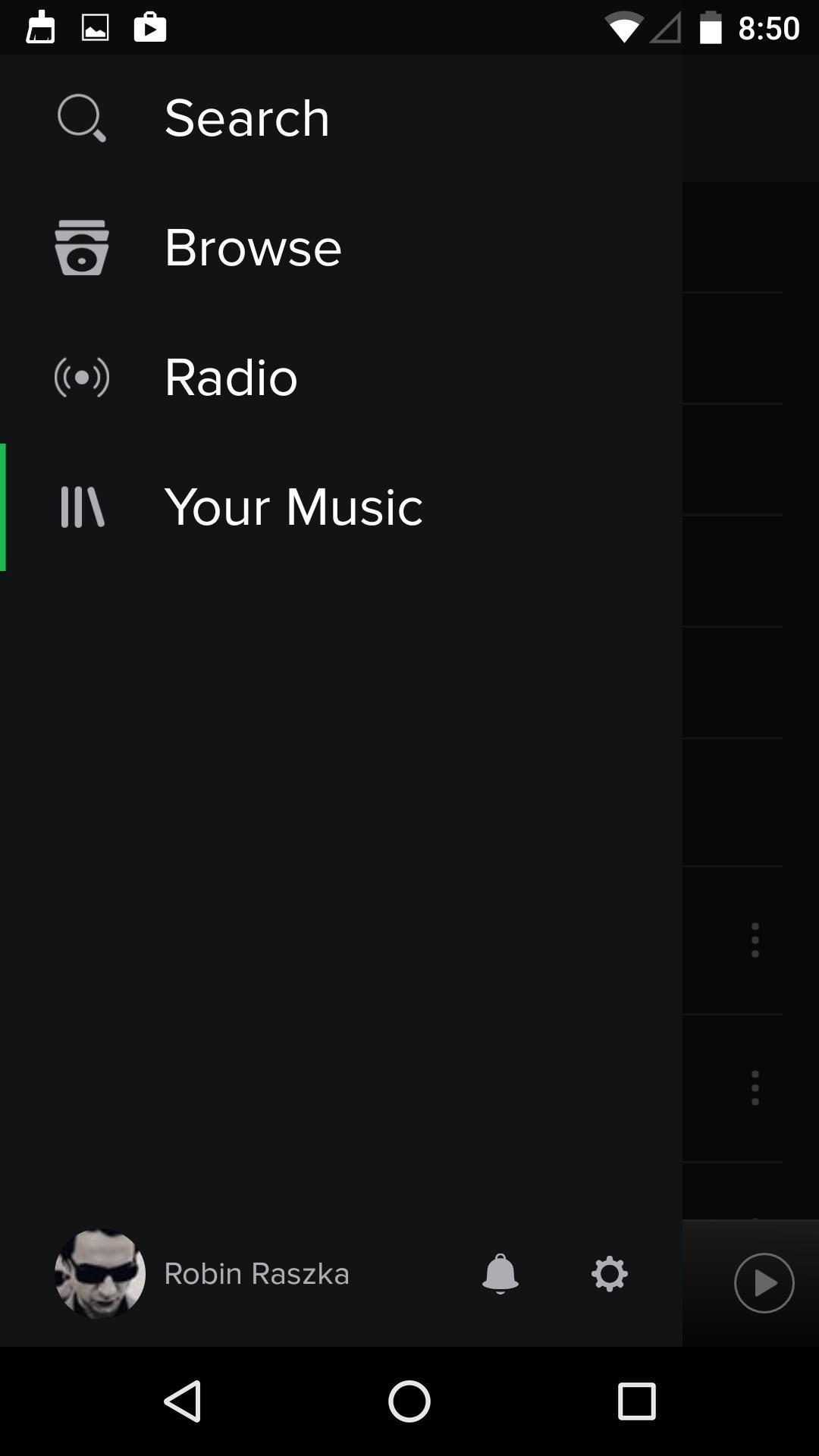 Spotify Music  导航菜单