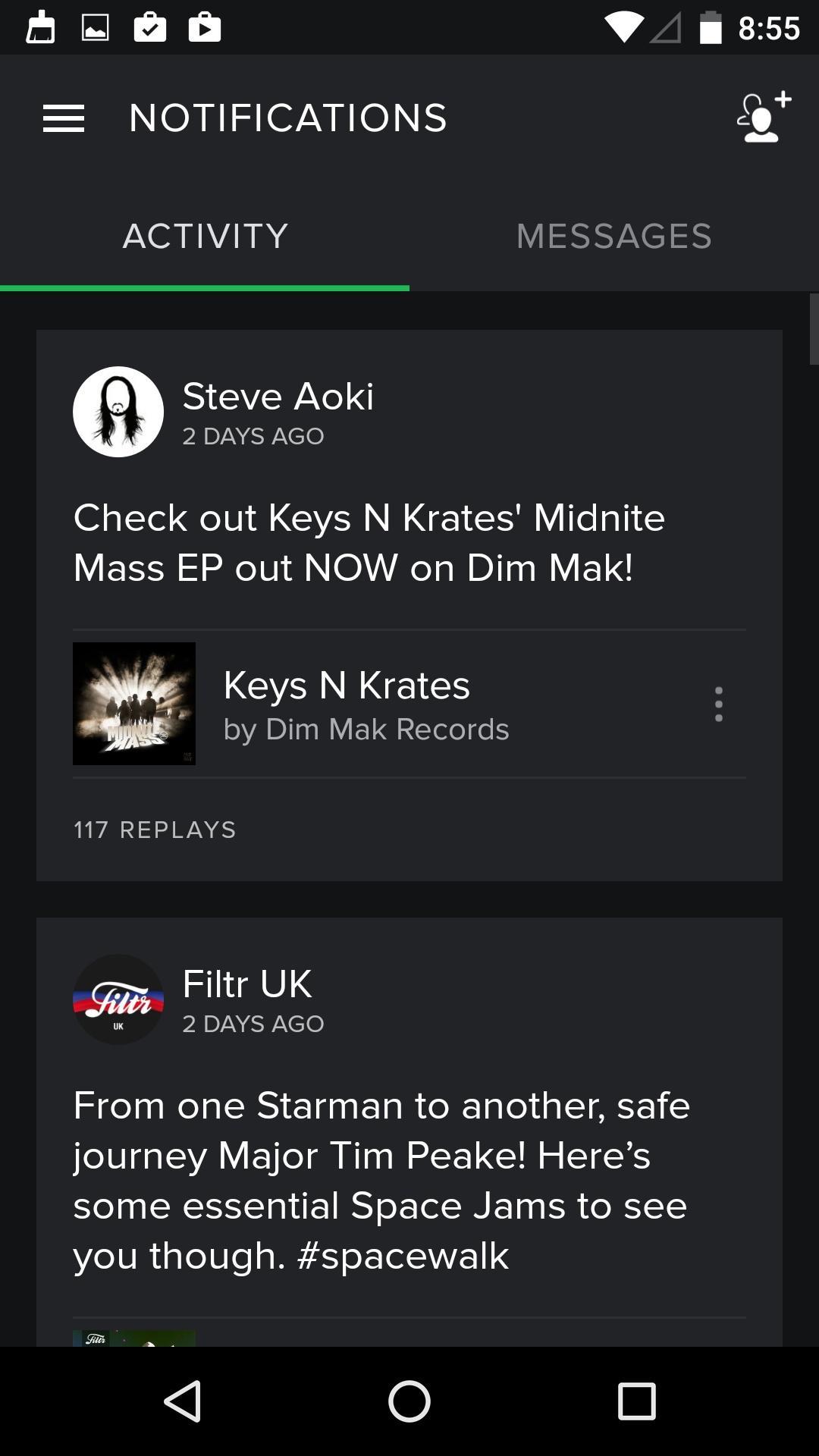 Spotify Music  信息流