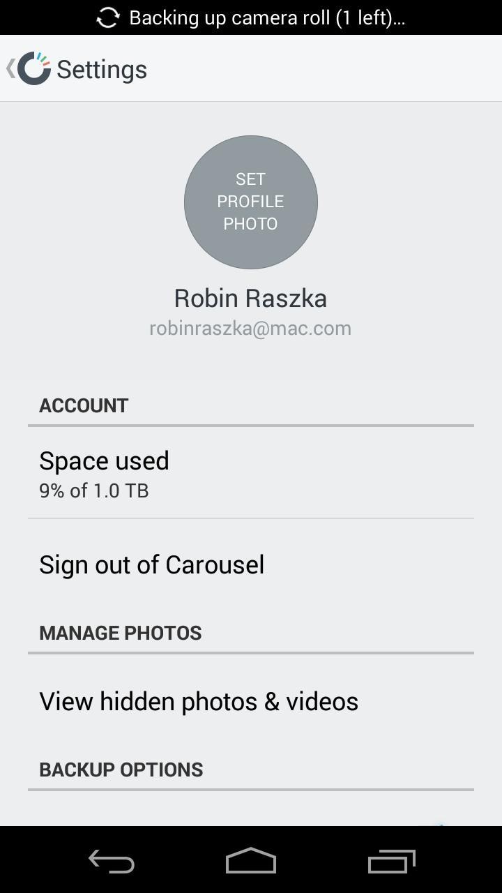 Carousel - Dropbox Photos  设置