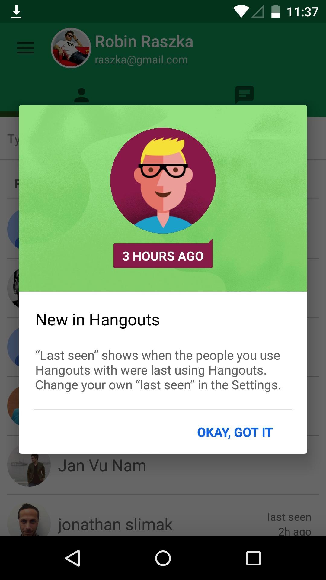Hangouts  浮层