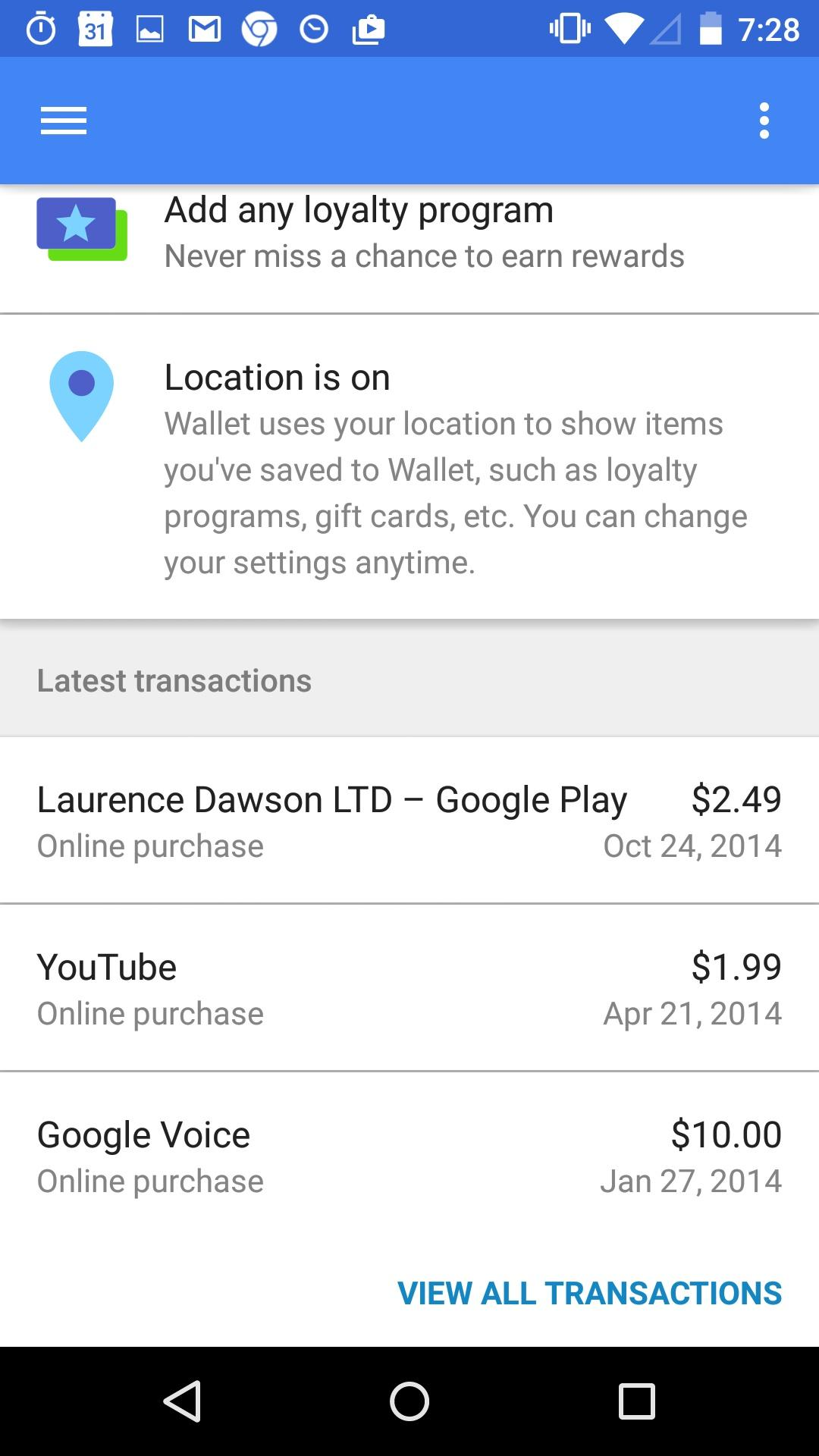 Google Wallet  列表