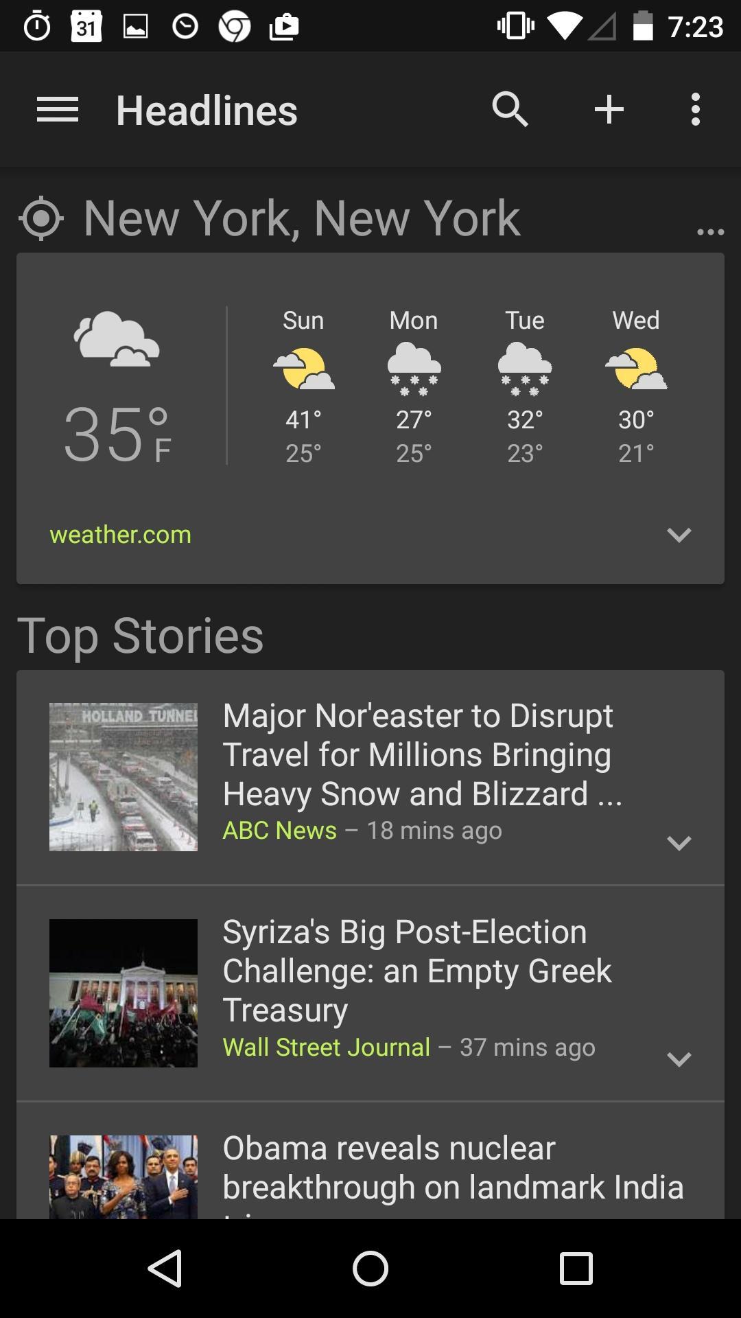Google News & Weather  卡片