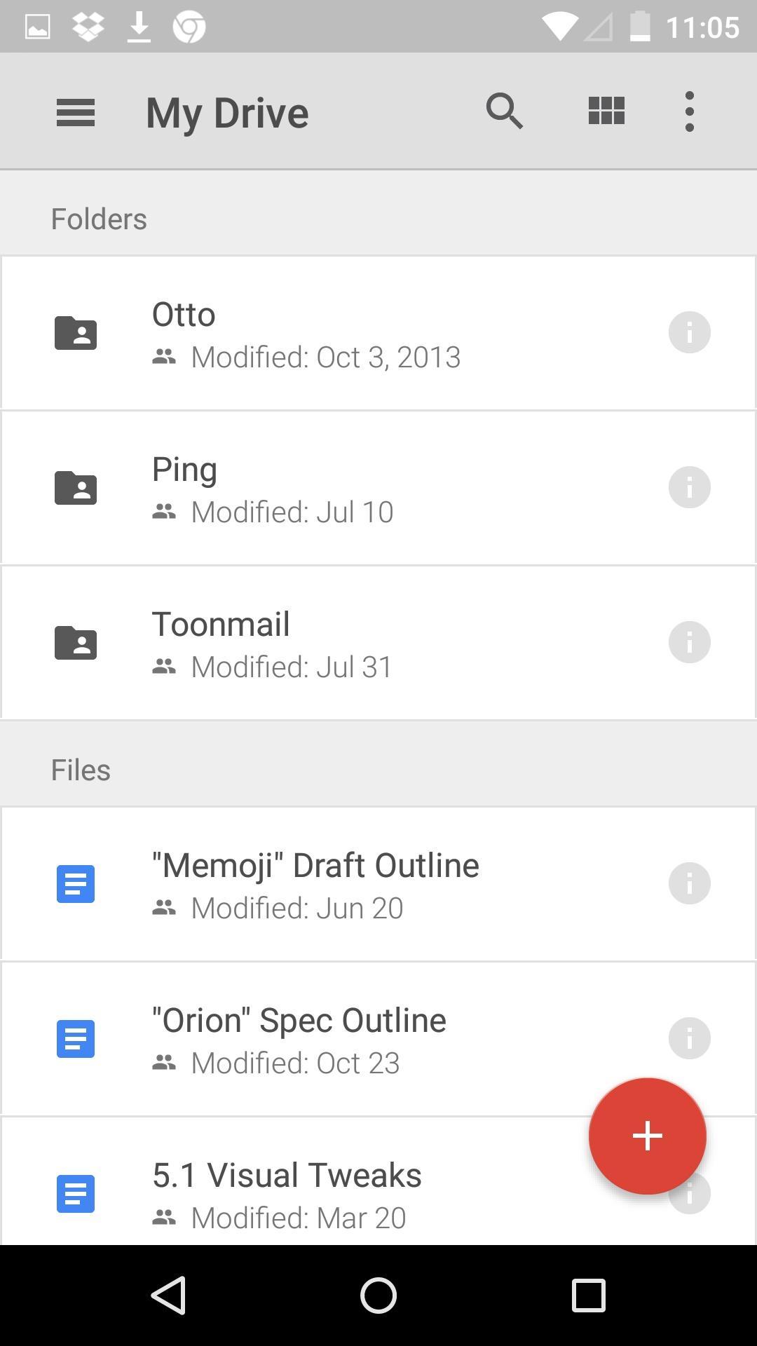 Google Drive  列表