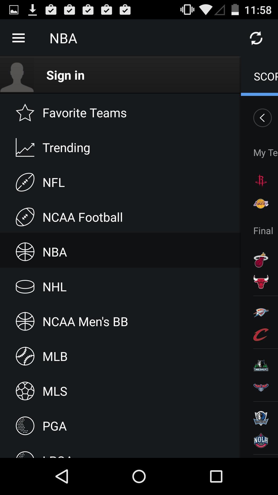 Yahoo Sports  侧边栏