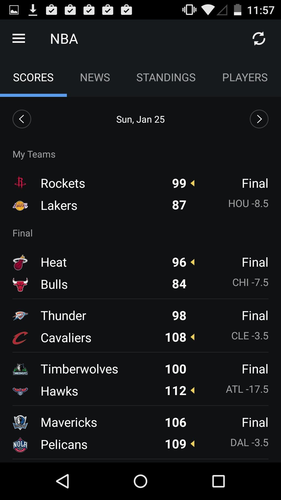 Yahoo Sports  列表