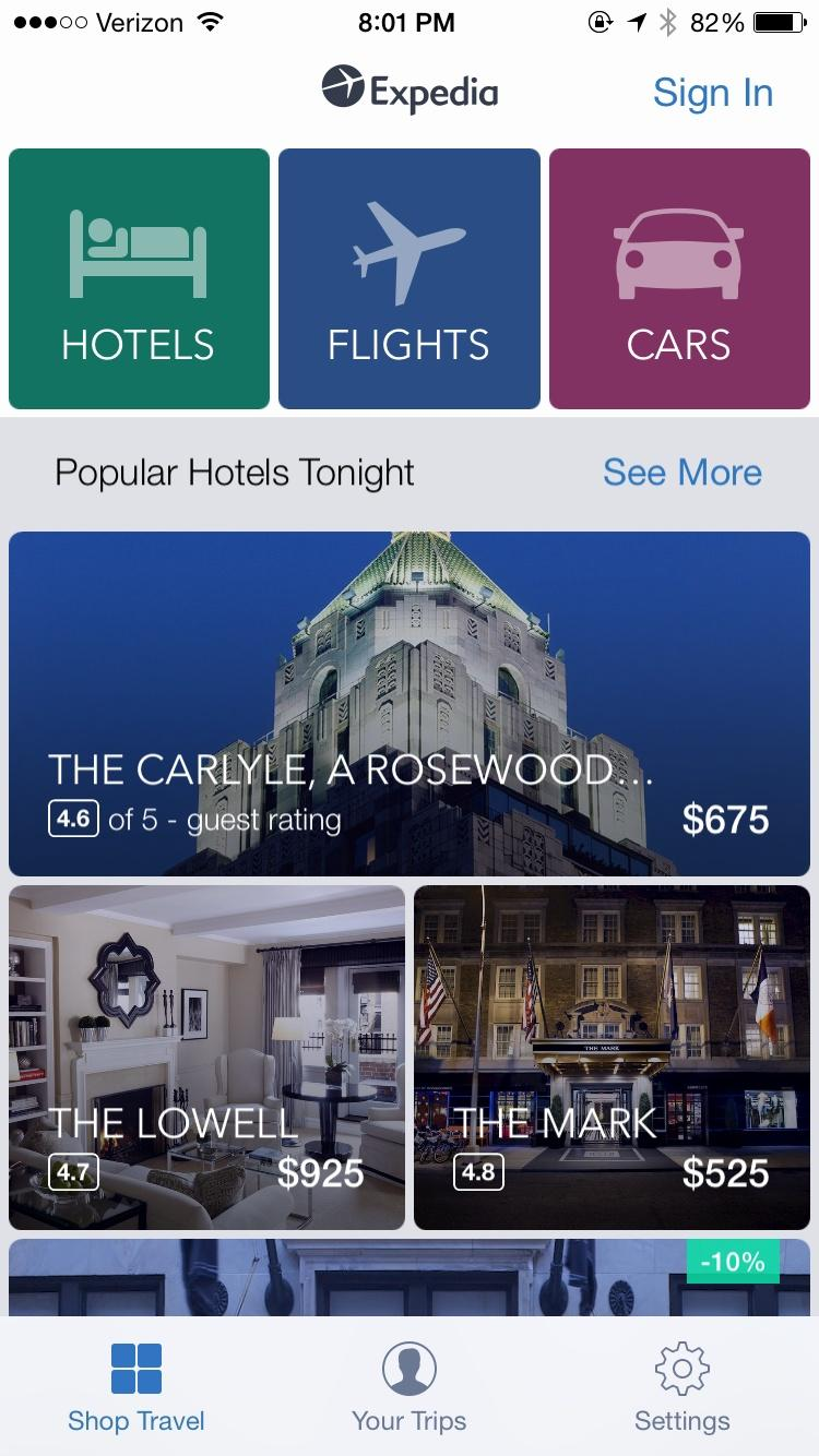 Expedia Hotels, Flights & Cars  购物首页