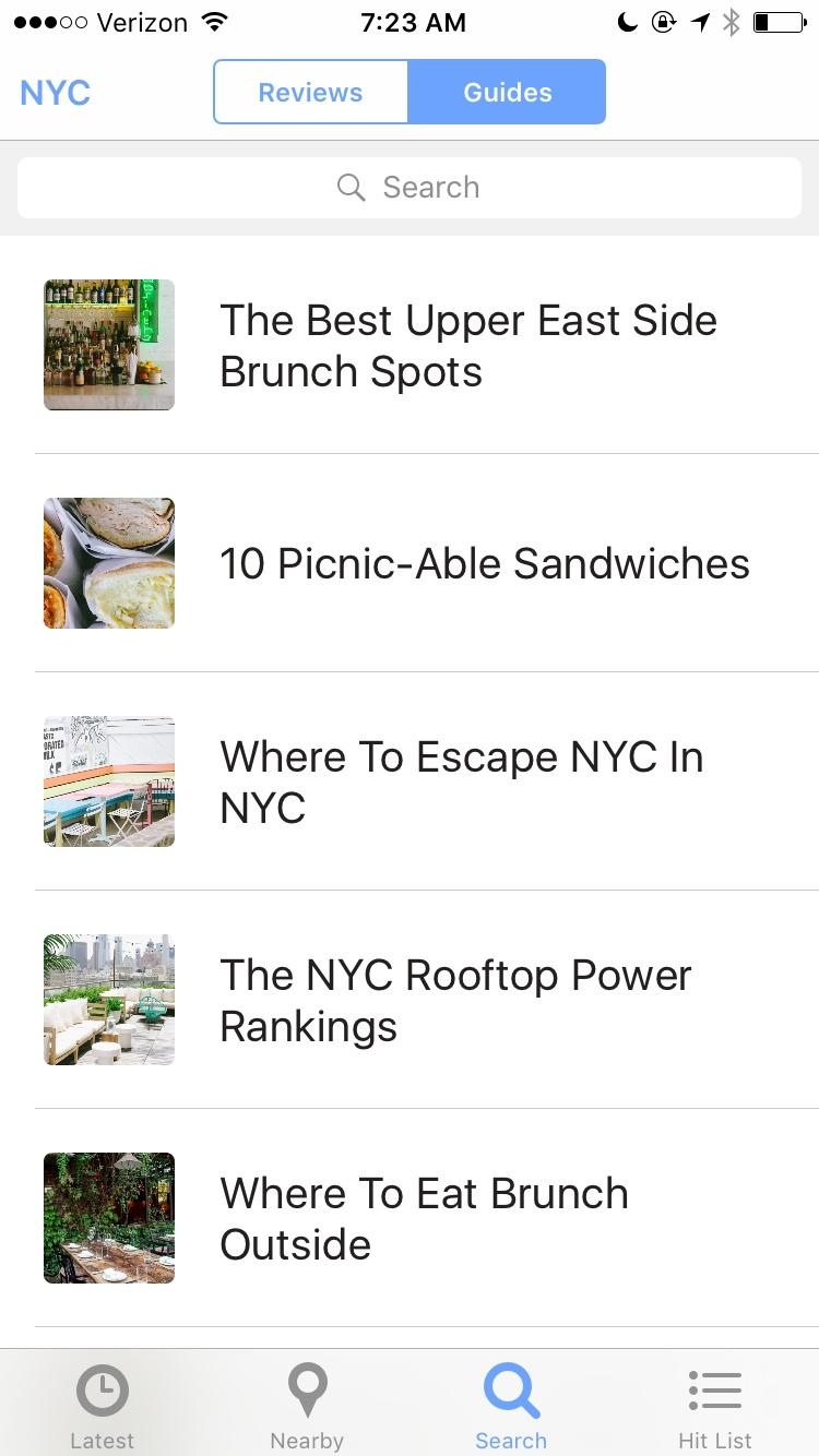 The Infatuation: Restaurant Reviews for New York, Los Angeles, San Francisco & Chicago  应用设置列表